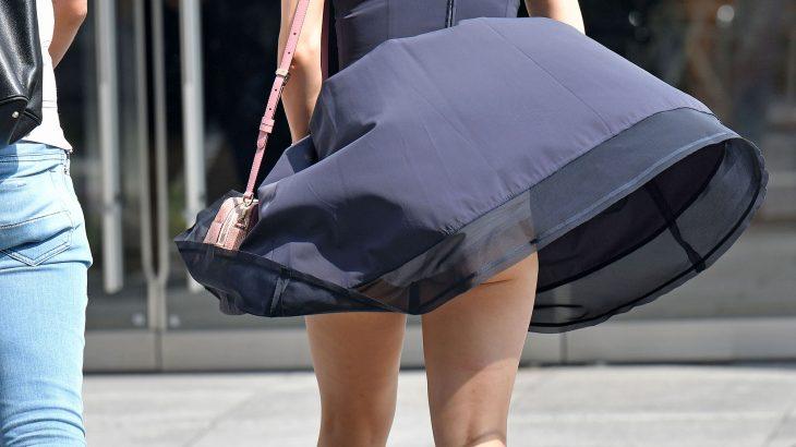 【画像】まんさん、風でスカートがめくれてしまう