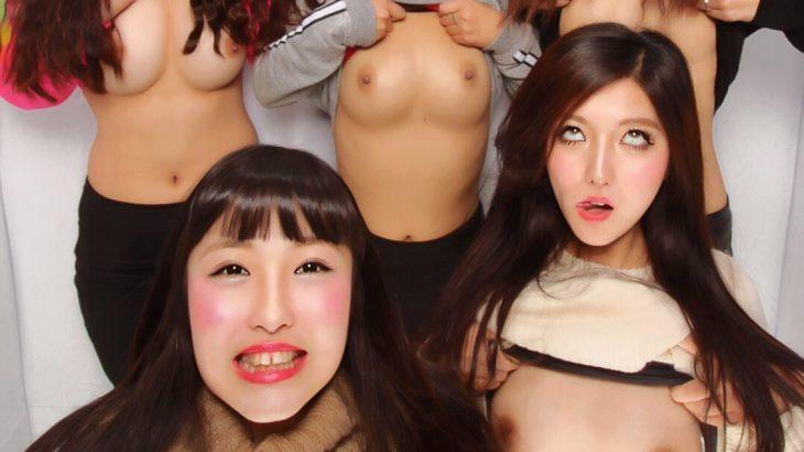 【画像】美人まんさん、プリクラで乳首丸出し