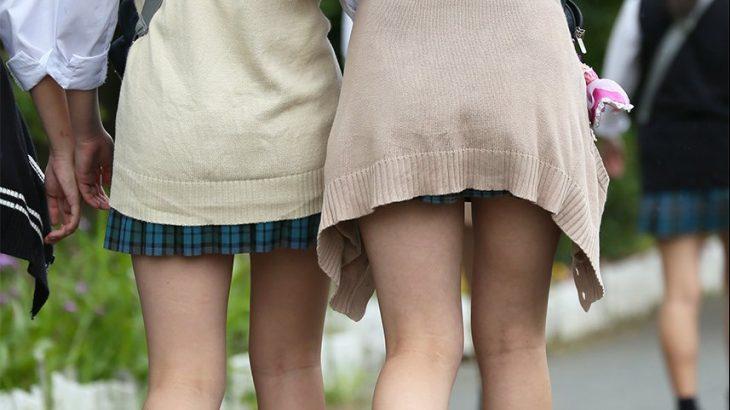 【画像】横浜のJKさん、スカートが短すぎる