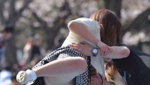 【画像】お花見女子、派手にパンチラ