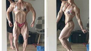 【画像あり】ブロンドヘアーの白人筋トレ女子さん、全裸写真を撮りまくるwww